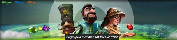50 free spins och 500% bonus hos 888